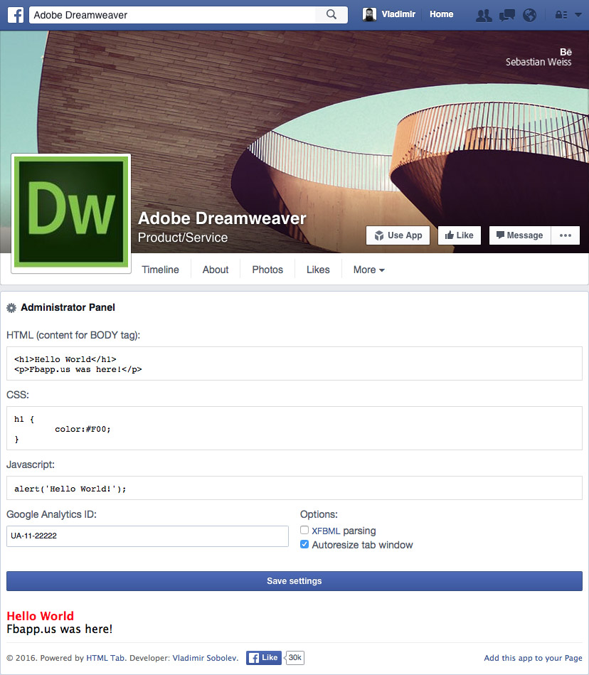 HTML Tab For Facebook | Facebook Apps